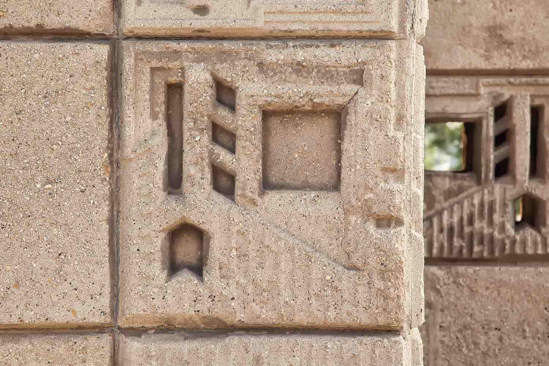 Textile Block Detail, Freeman House