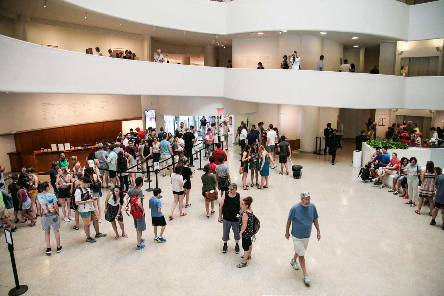 The ticket lines in the lobby at the Guggenheim museum