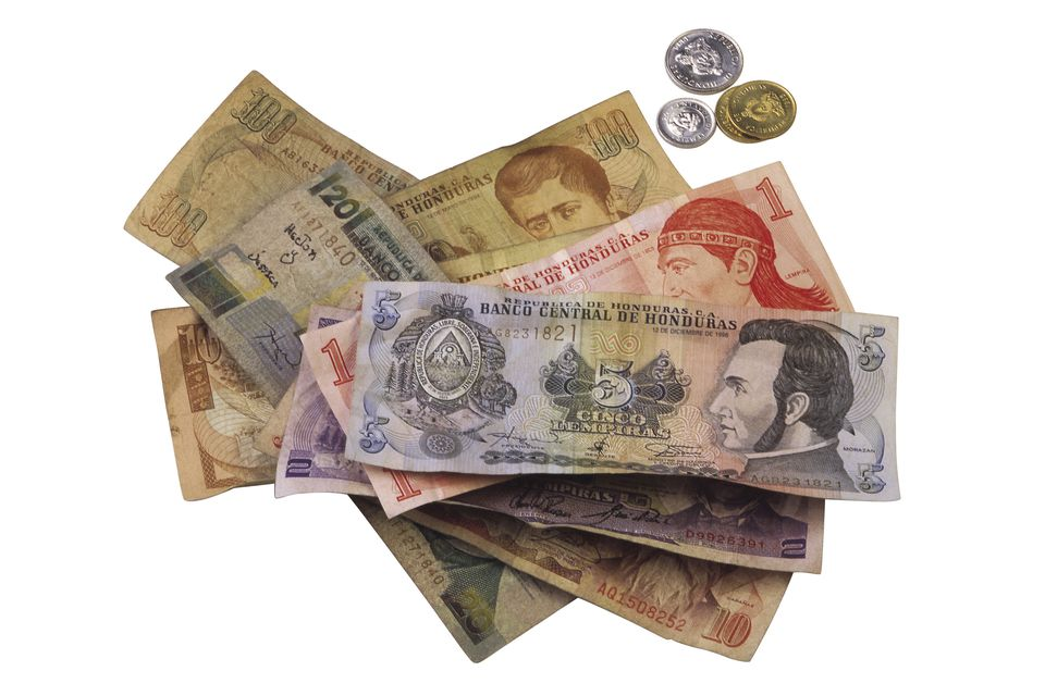 Honduran money on a white background