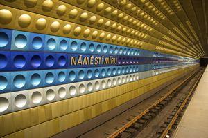 Tunnel view of Namesti Miru underground station in Prague