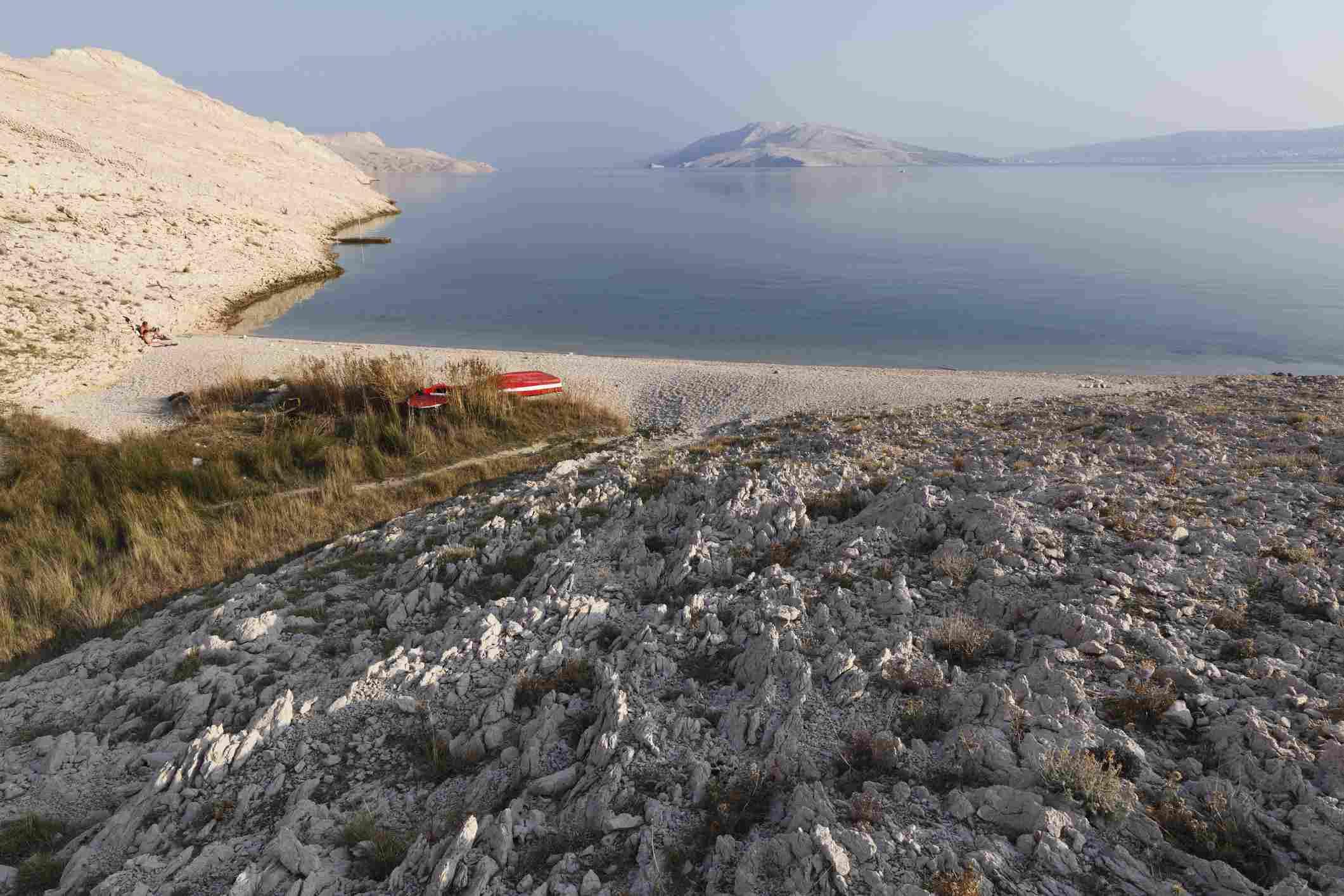 Croatia, Adria, Dalmatia, View of pag island with rucica bay