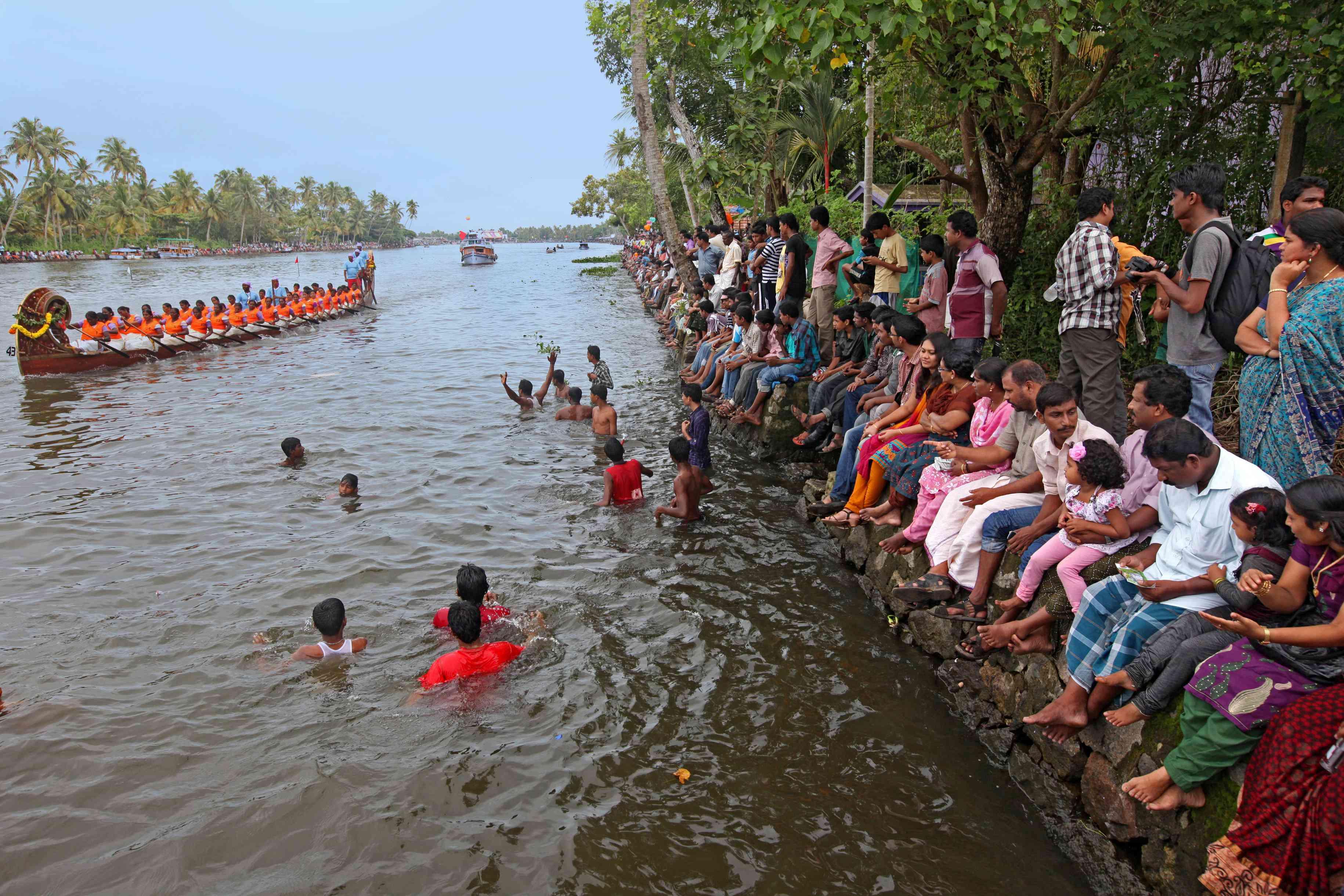 Snake boats in Kerala.