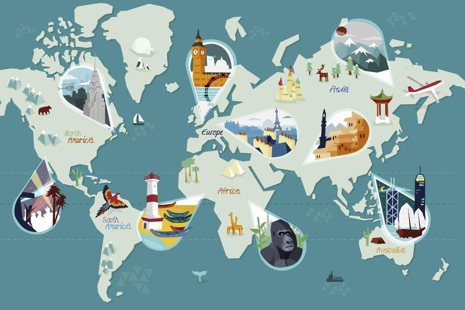 Un mapa ilustrado del mundo con vistas destacadas que se encuentran en cada continente.