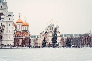 View of Cathedral Square in Moscow Kremlin during Christmas holidays
