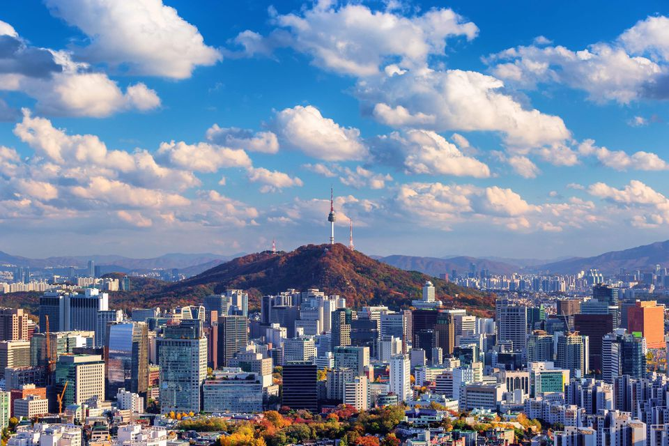 View of a mountain in the middle of the city of Seoul, South korea