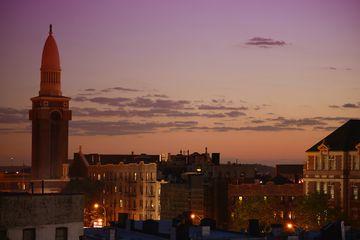 The skyline of Sunset Park, Brooklyn at twilight