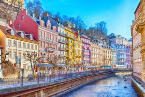 Karlovy Vary street panorama view, Czech Republic