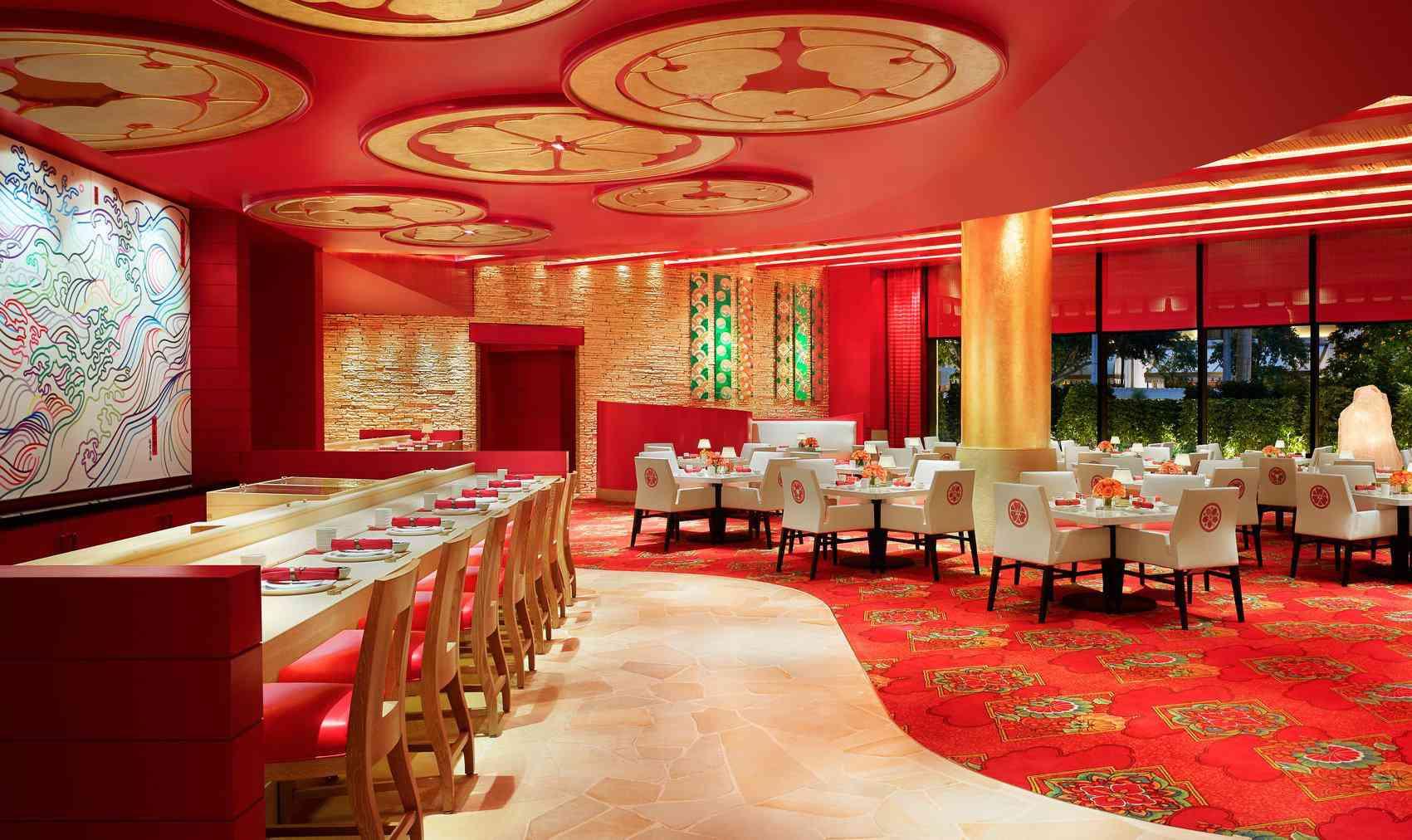 red and gold interior of Mizumi restaurant
