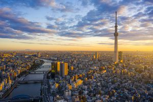 Tokyo Cityscape with Tokyo Sky Tree visible in Tokyo city, Japan on sunrise.
