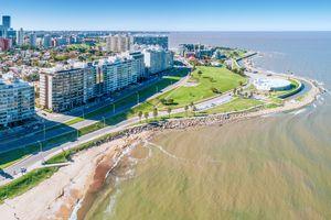 Aerial view, high angle view of Montevideo's coastline, Pocitos neighbourhood