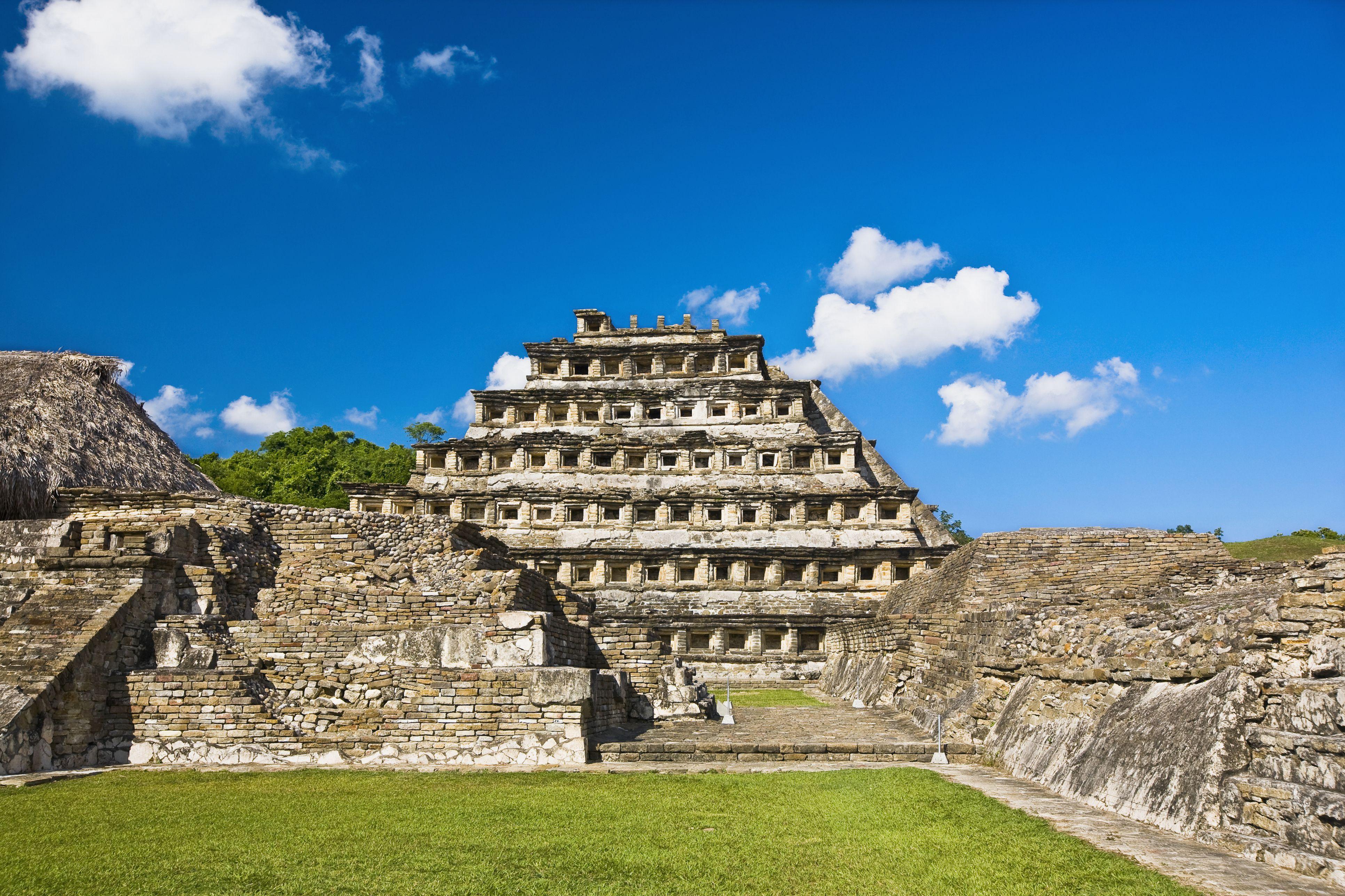 Pyramid on a landscape, Pyramid Of The Niches, El Tajin, Veracruz, Mexico