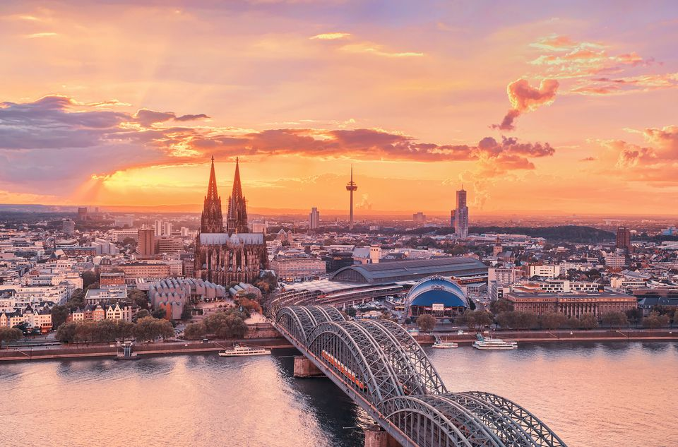 Cologne, Germany, at sunset.