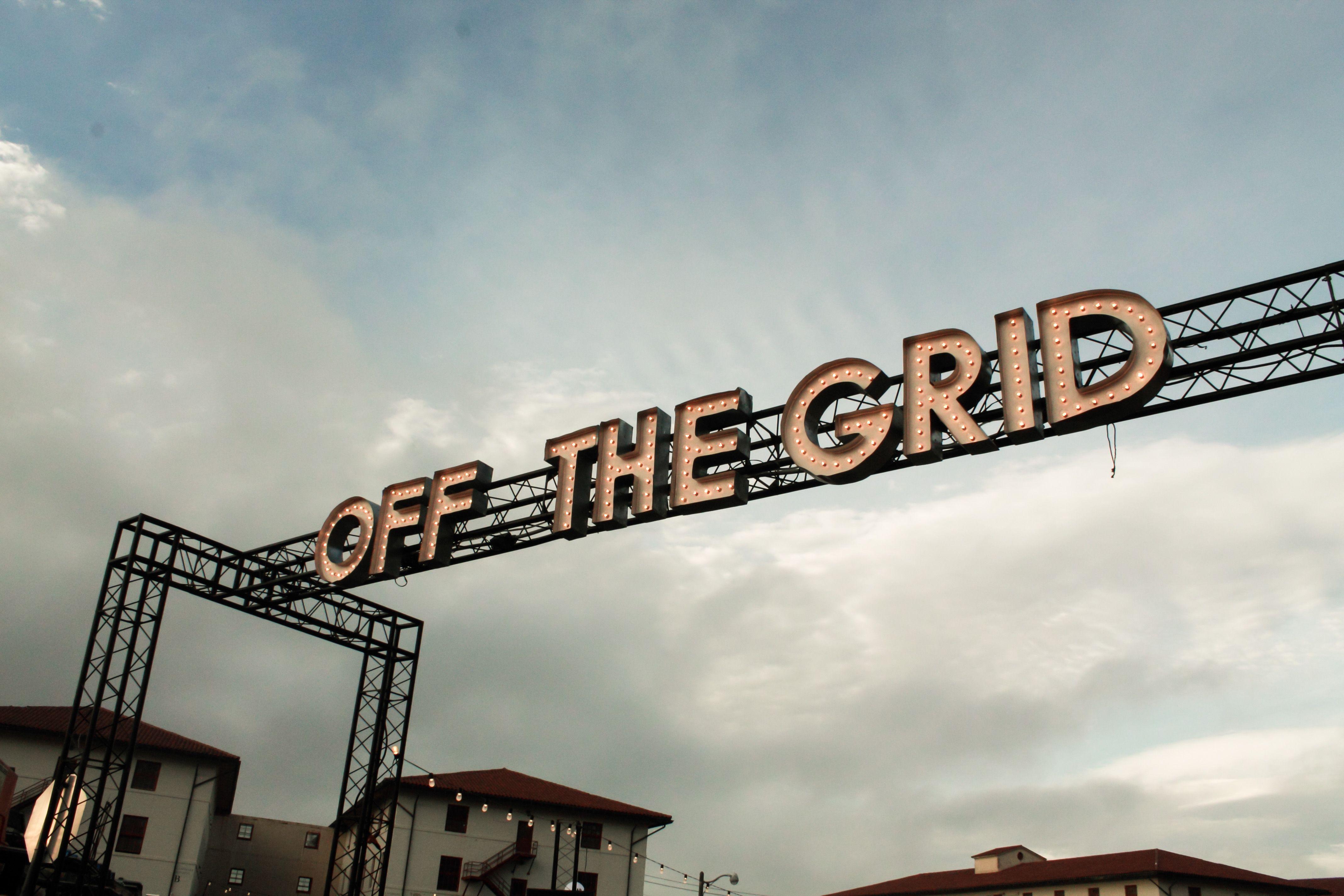 Entry sign for Off The Grid, Fort Mason, Marina neighborhood, San Francisco