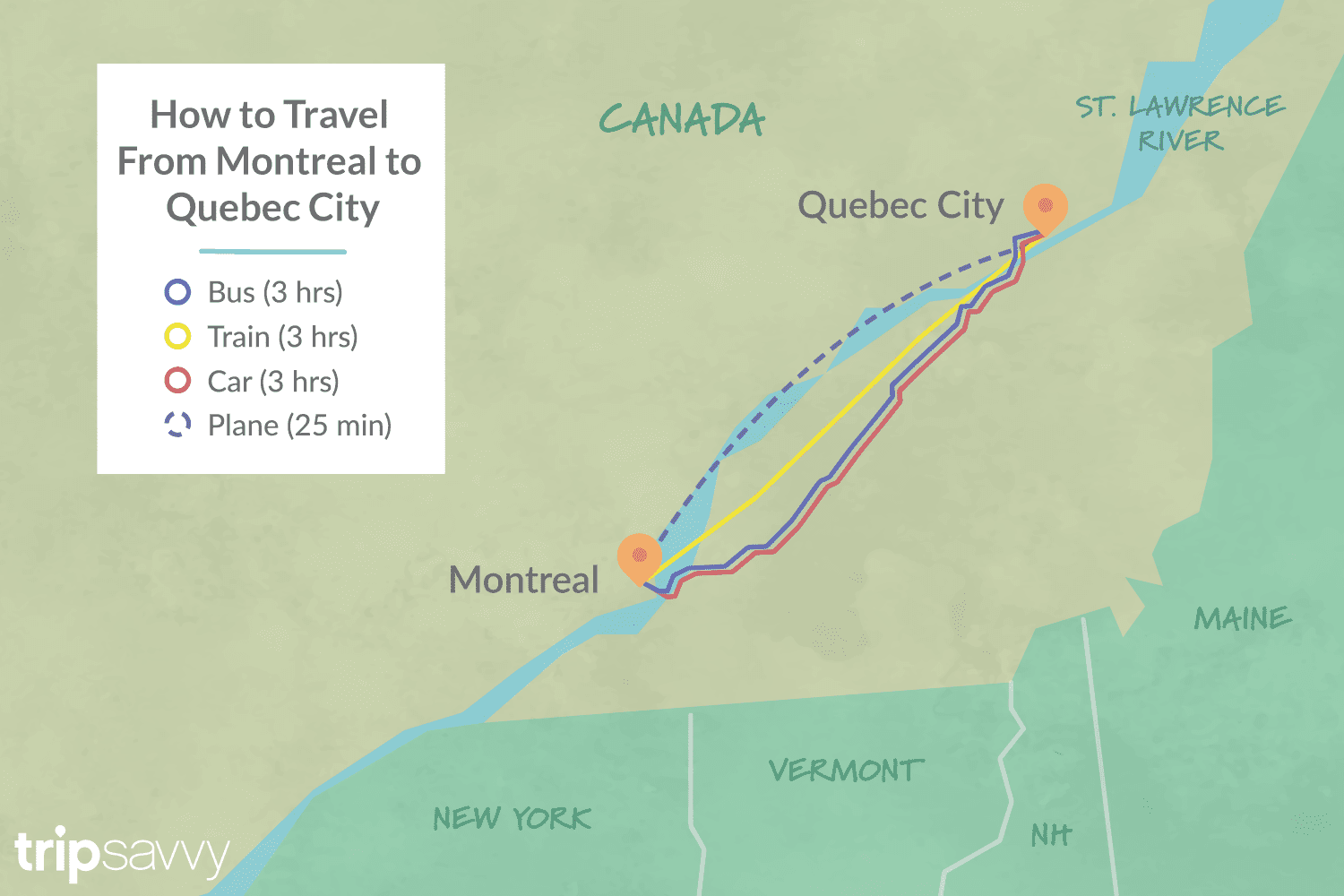 Map Of New York To Quebec Canada.Options For Getting From Montreal To Quebec City