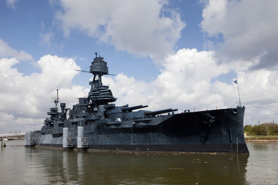 Historic Texas Battleship sitting in the water.