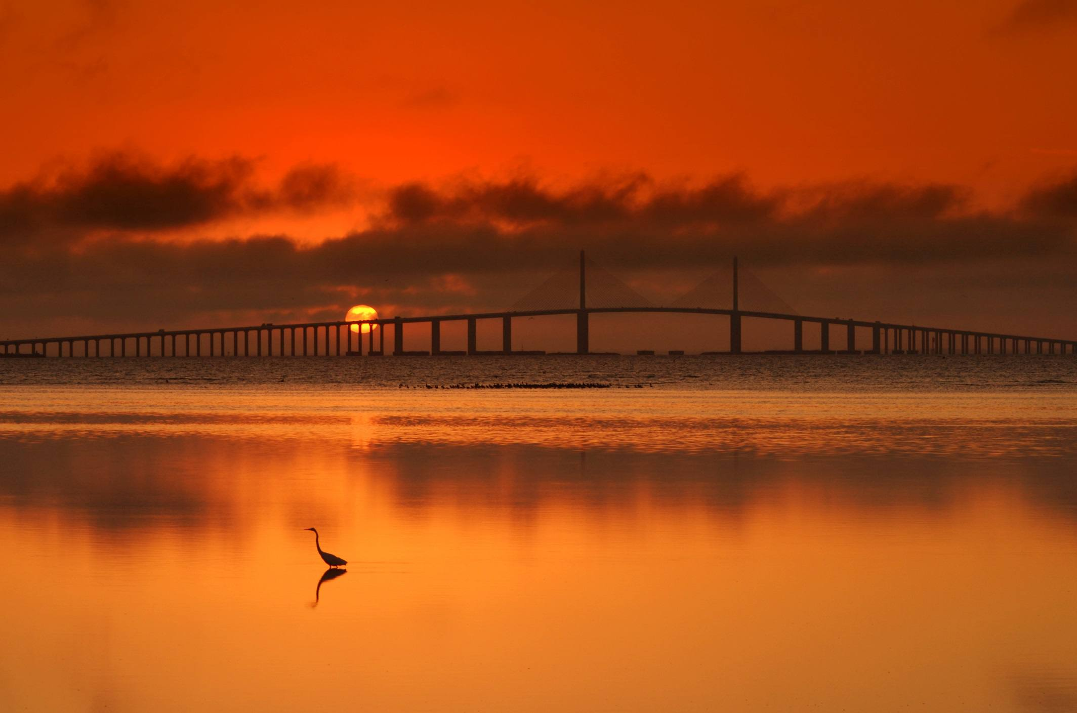 View of Skyway bridge at sunrise, Florida.