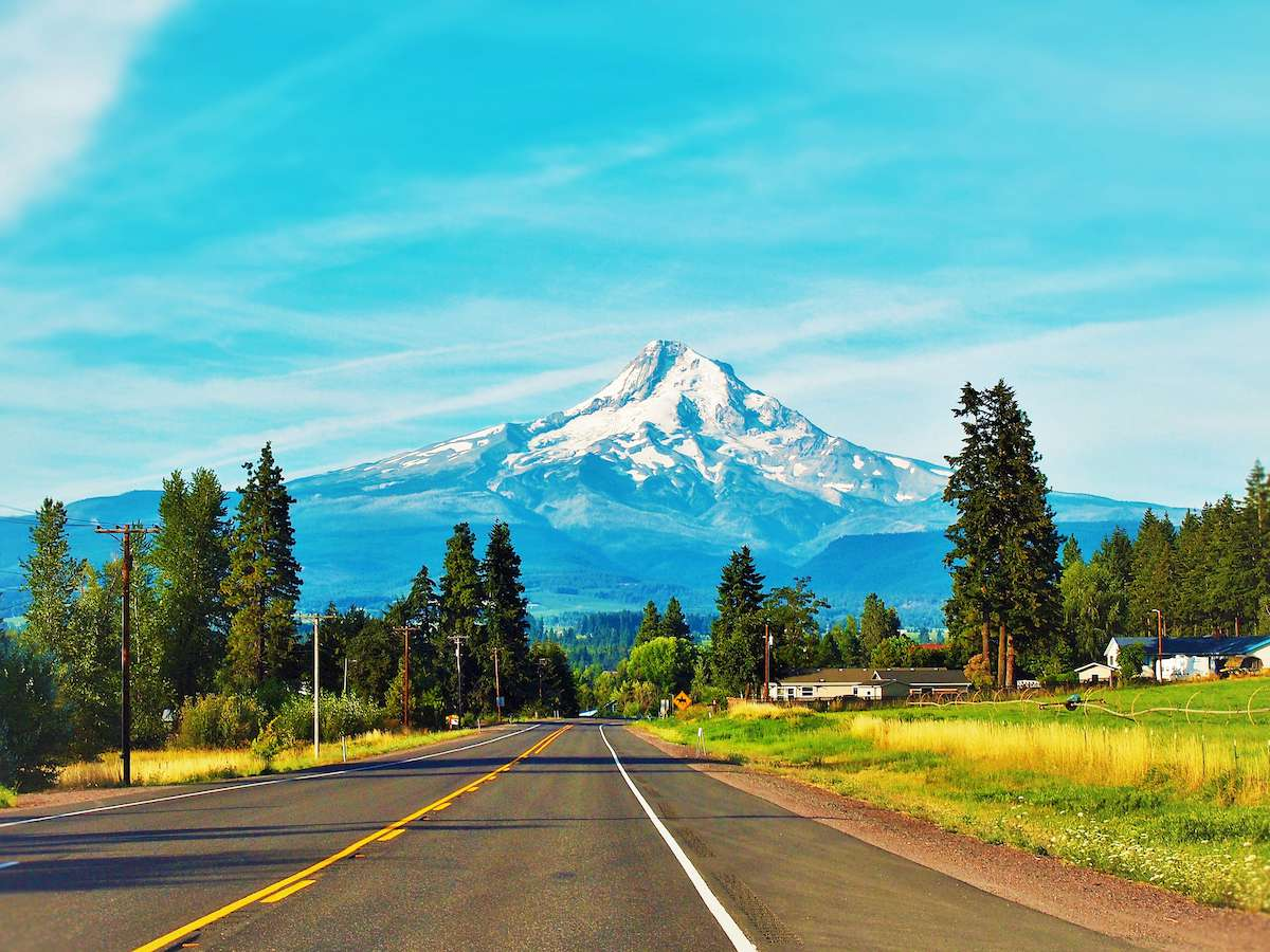 A highway runs directly to Mt. Hood in the distance