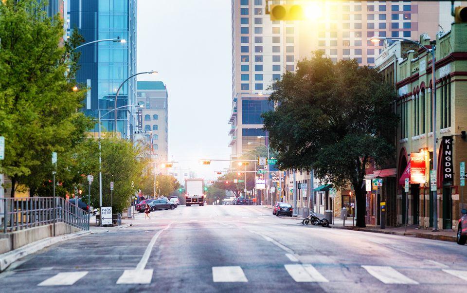 Austin Texas east 5th street panoramic view at dawn