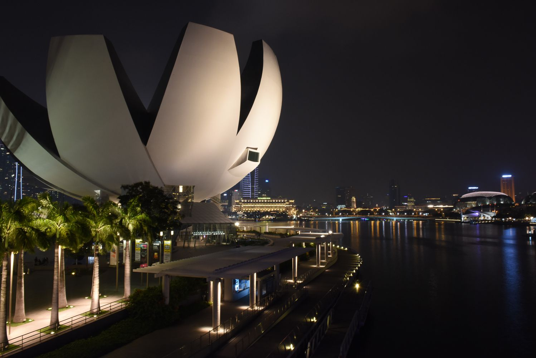 The Esplanade in Singapore at night