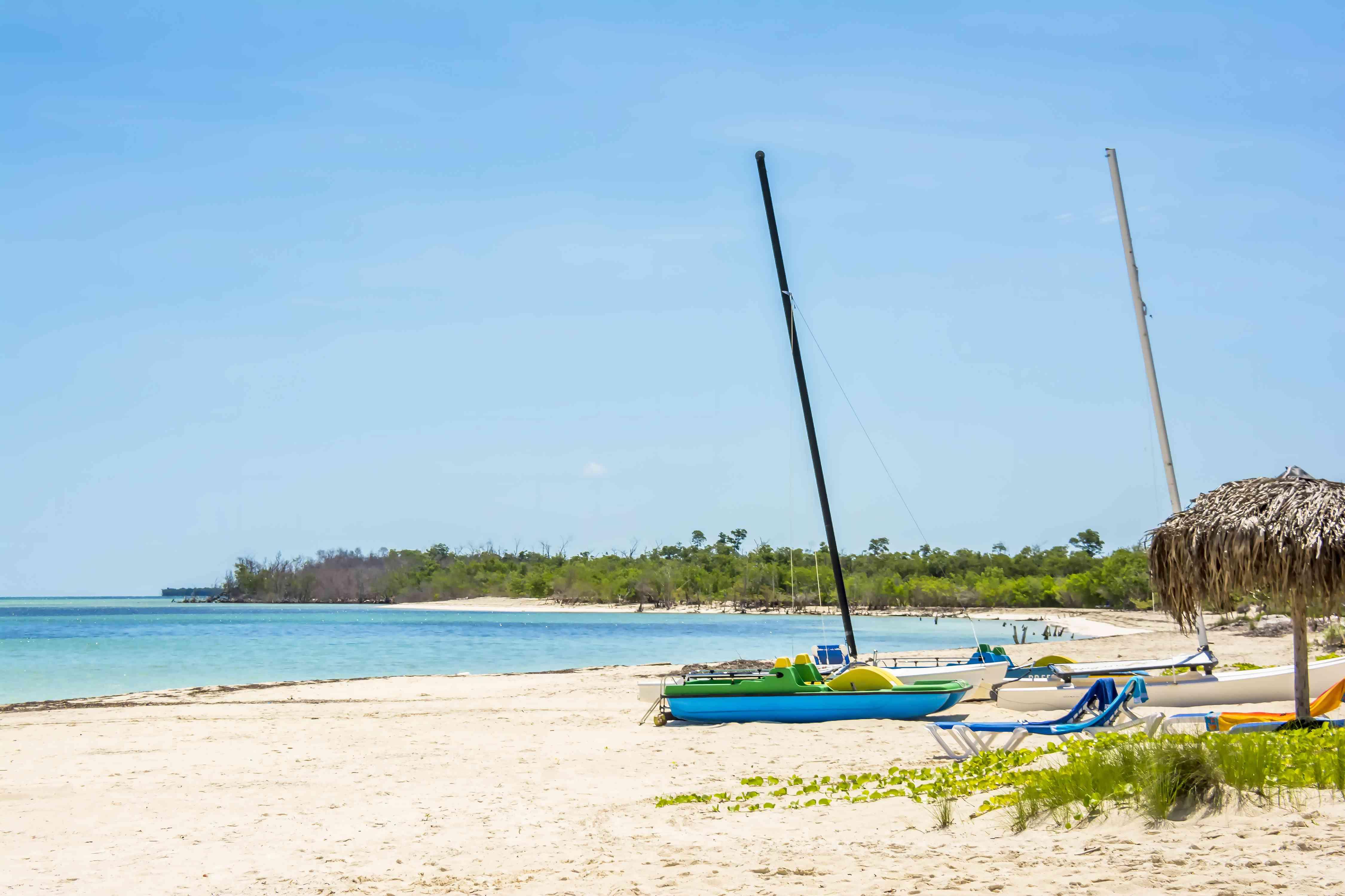 Beautiful beach and blue sky on Cayo Levisa island, Cuba.