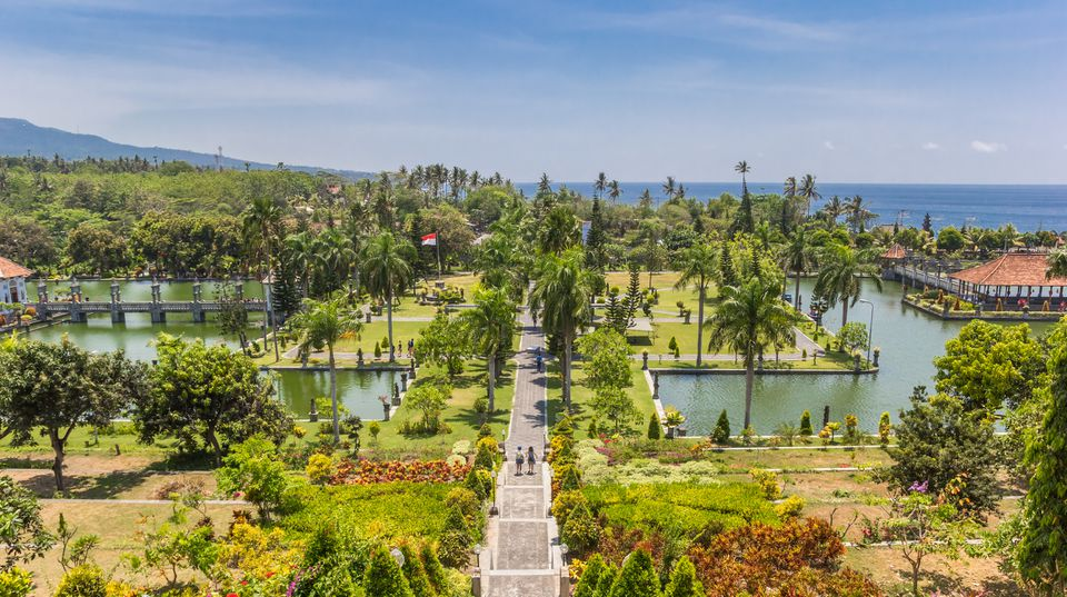 Panorama of the Taman Ujung Soekasada water palace on Bali, Indonesia