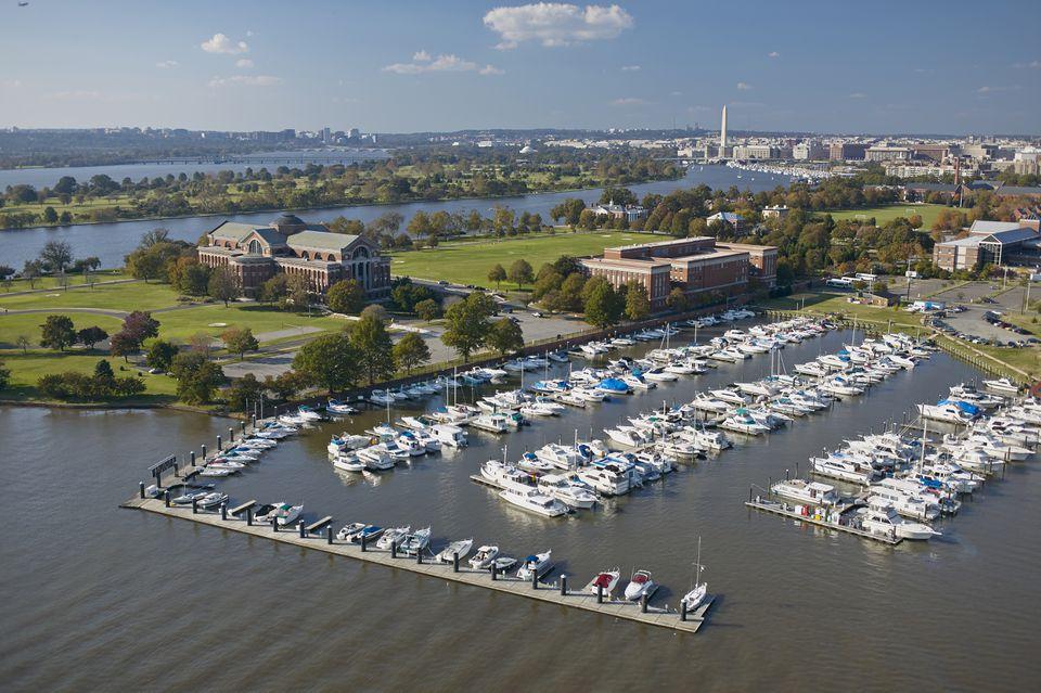 USA, Washington, D.C., Aerial photograph of Anacostia River