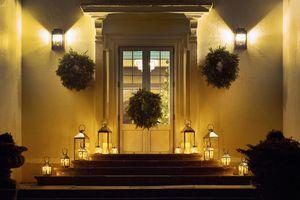 Lantern lined entrance of Tewkesbury Park at Christmas