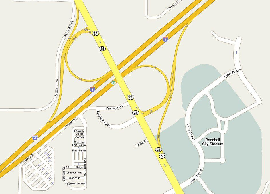 Map of Interstate 4 and Highway 27 (Exit 55) in Florida Davenport Florida Map on