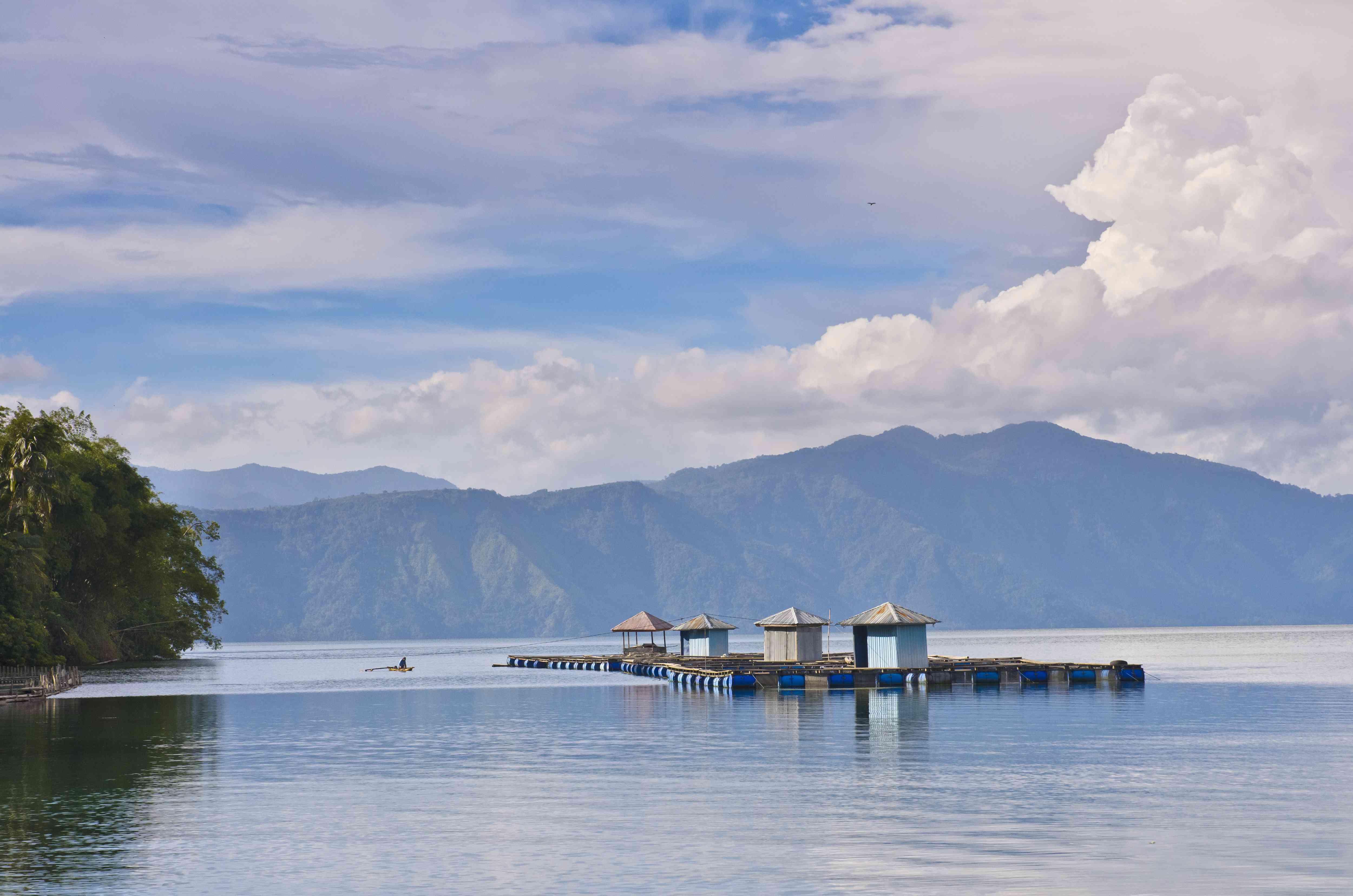 Fishing platforms at Lake Ranau in South Sumatra, Indonesia