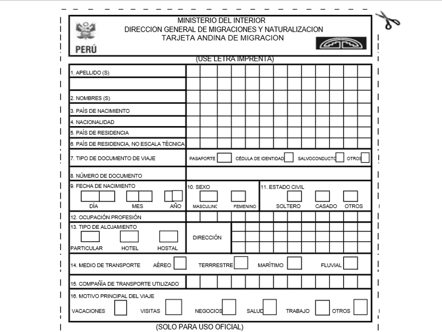 How to Fill out the Tarjeta Andina