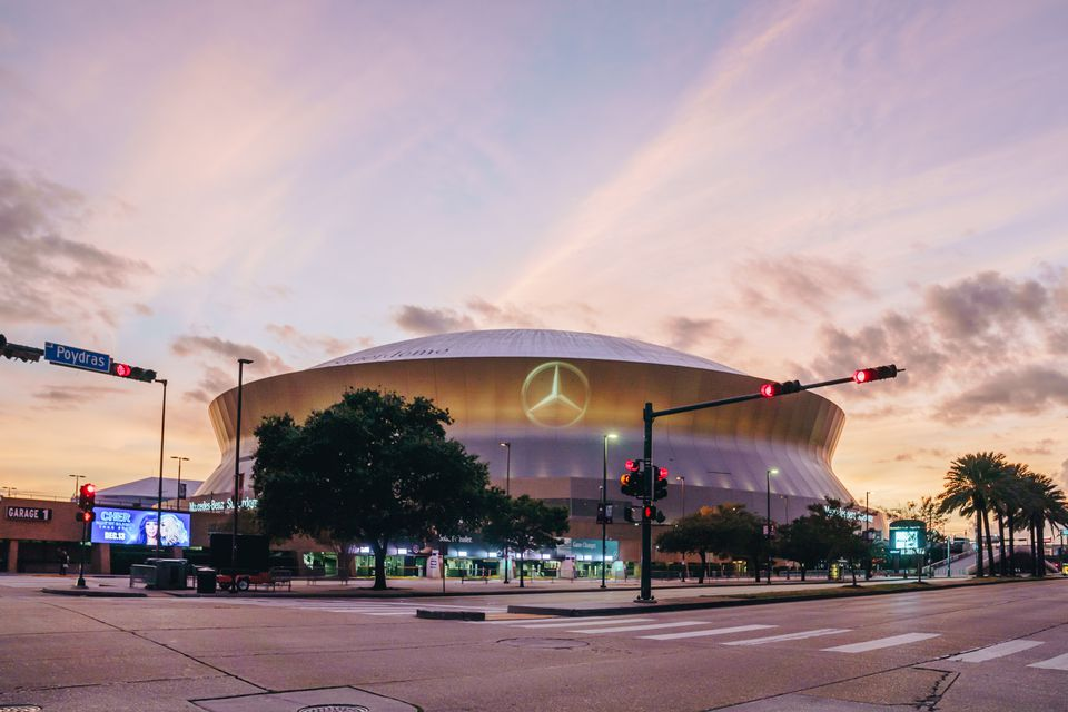 Exterior of the Superdome during sunset