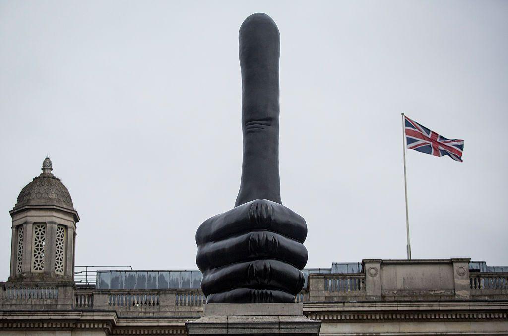 he new Fourth Plinth sculpture by British artist David Shrigley in Trafalgar Square.