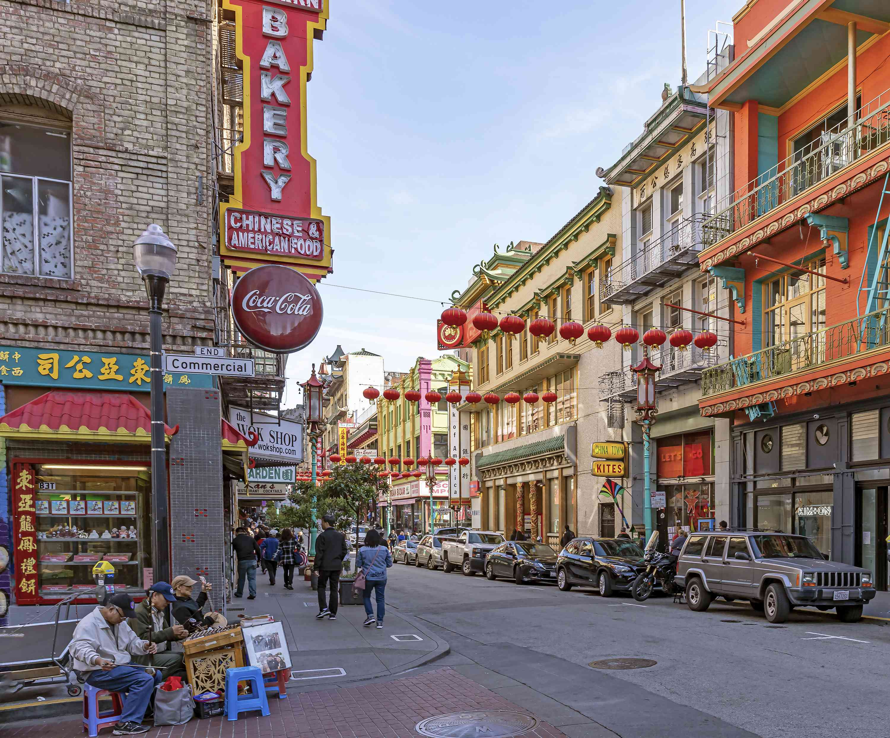 A street shot of Chinatown with colorful shops