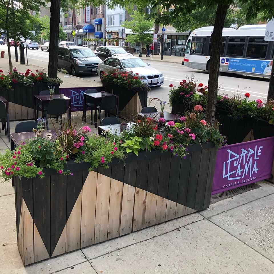 outdoor patio at Purple Llama Coffee and Records