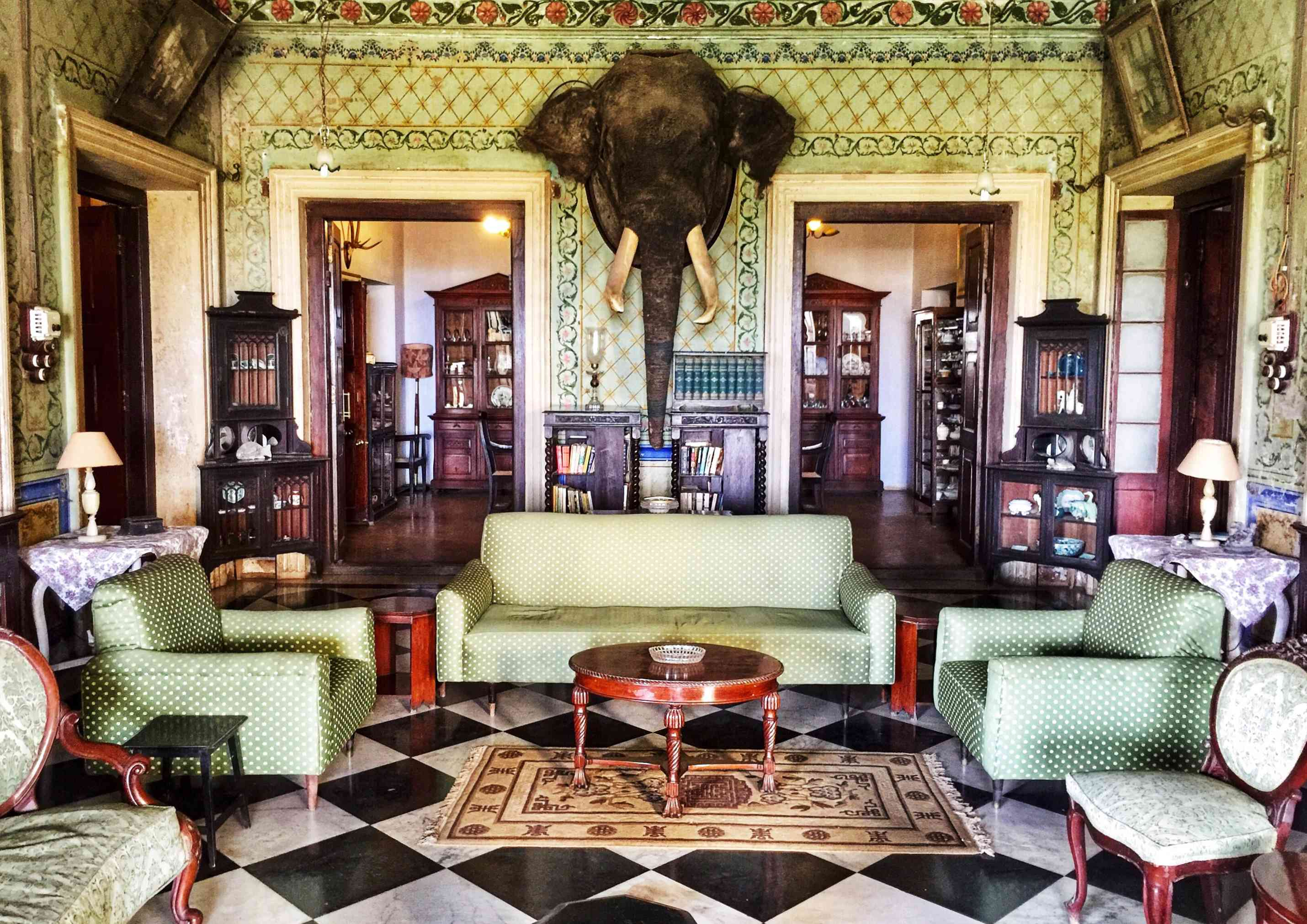 mounted elephant head in a heavily decorated green room