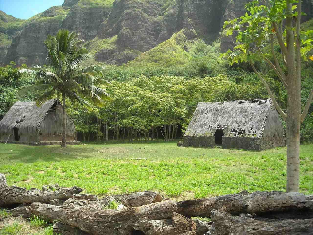 Reconstructed Hawaiian village.