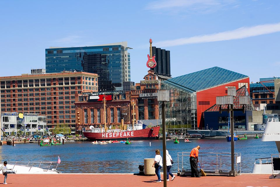 Buildings at the waterfront, National Aquarium, Inner Harbor, Baltimore, Maryland