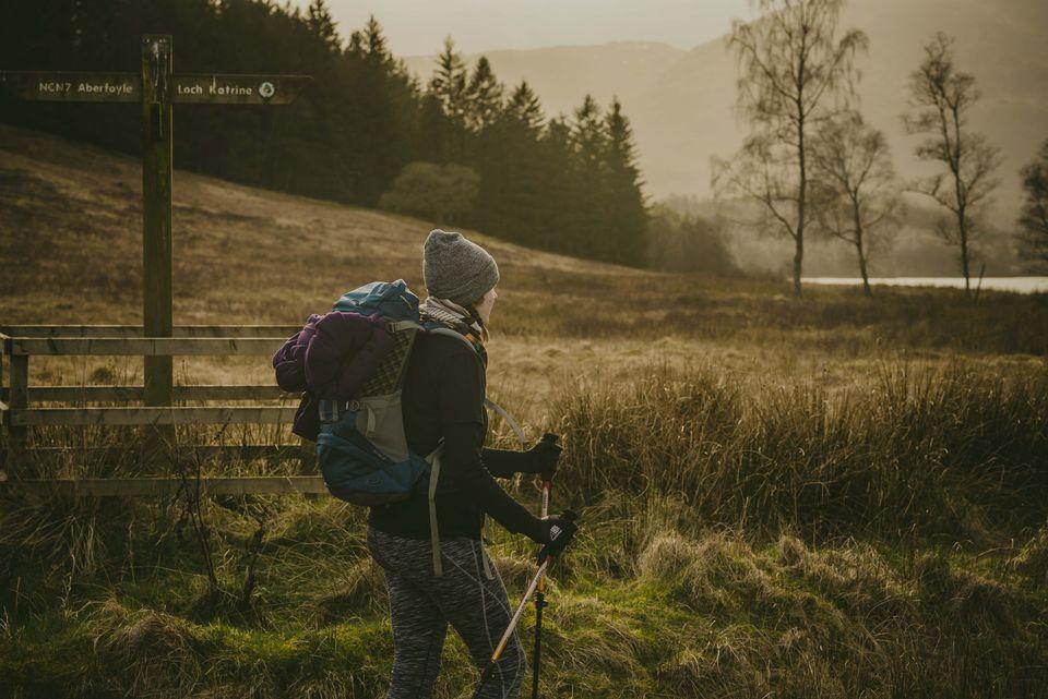 A woman hiking in Scotland