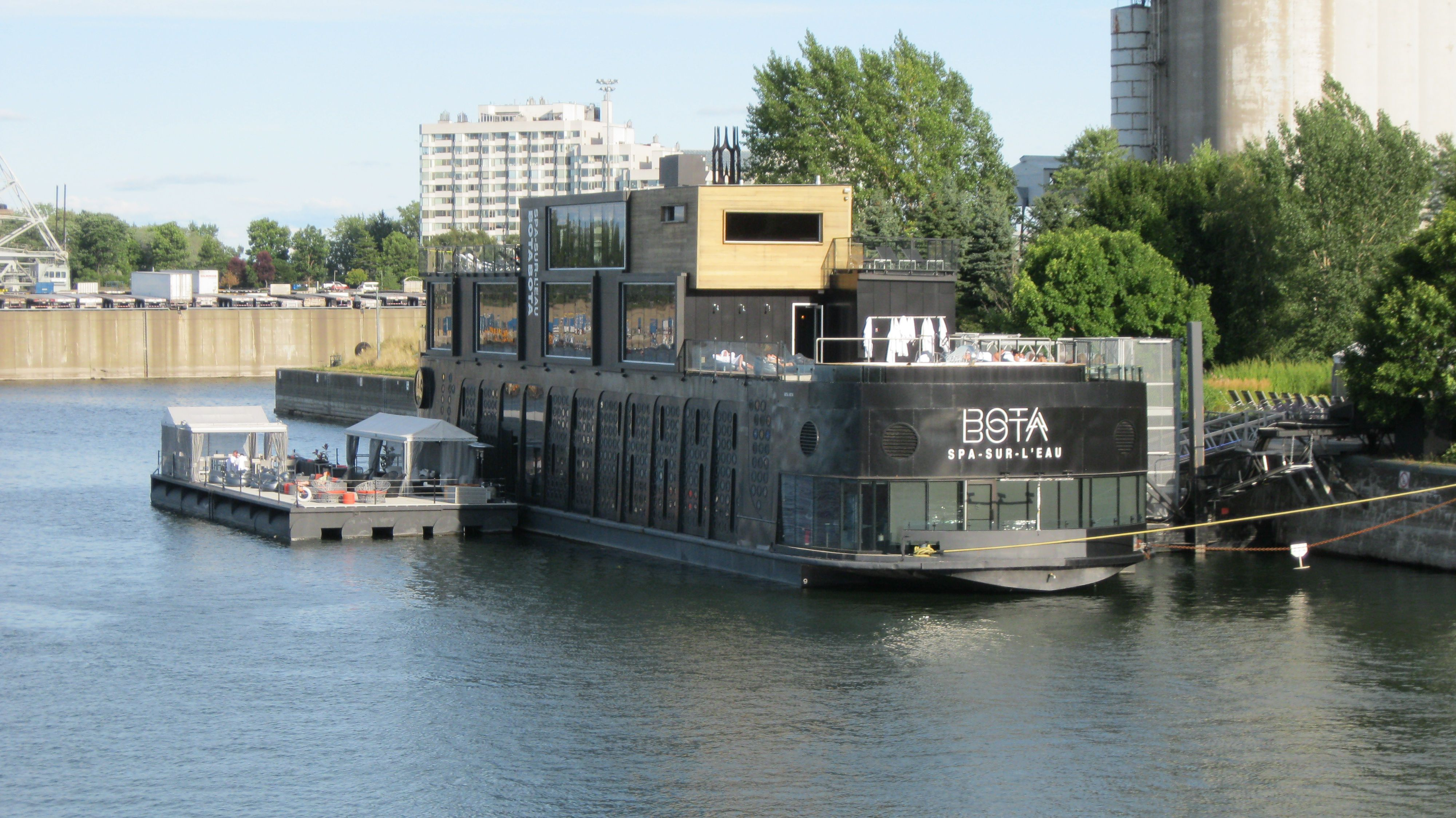 Outdoor view of Bota Bota spa on the water in Montreal
