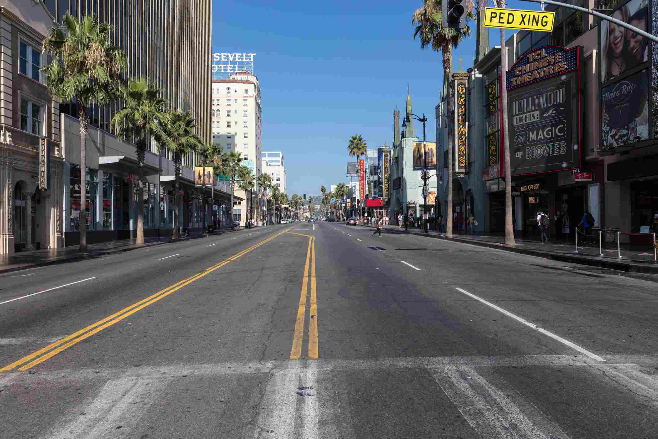 Early morning view of Hollywood Boulevard