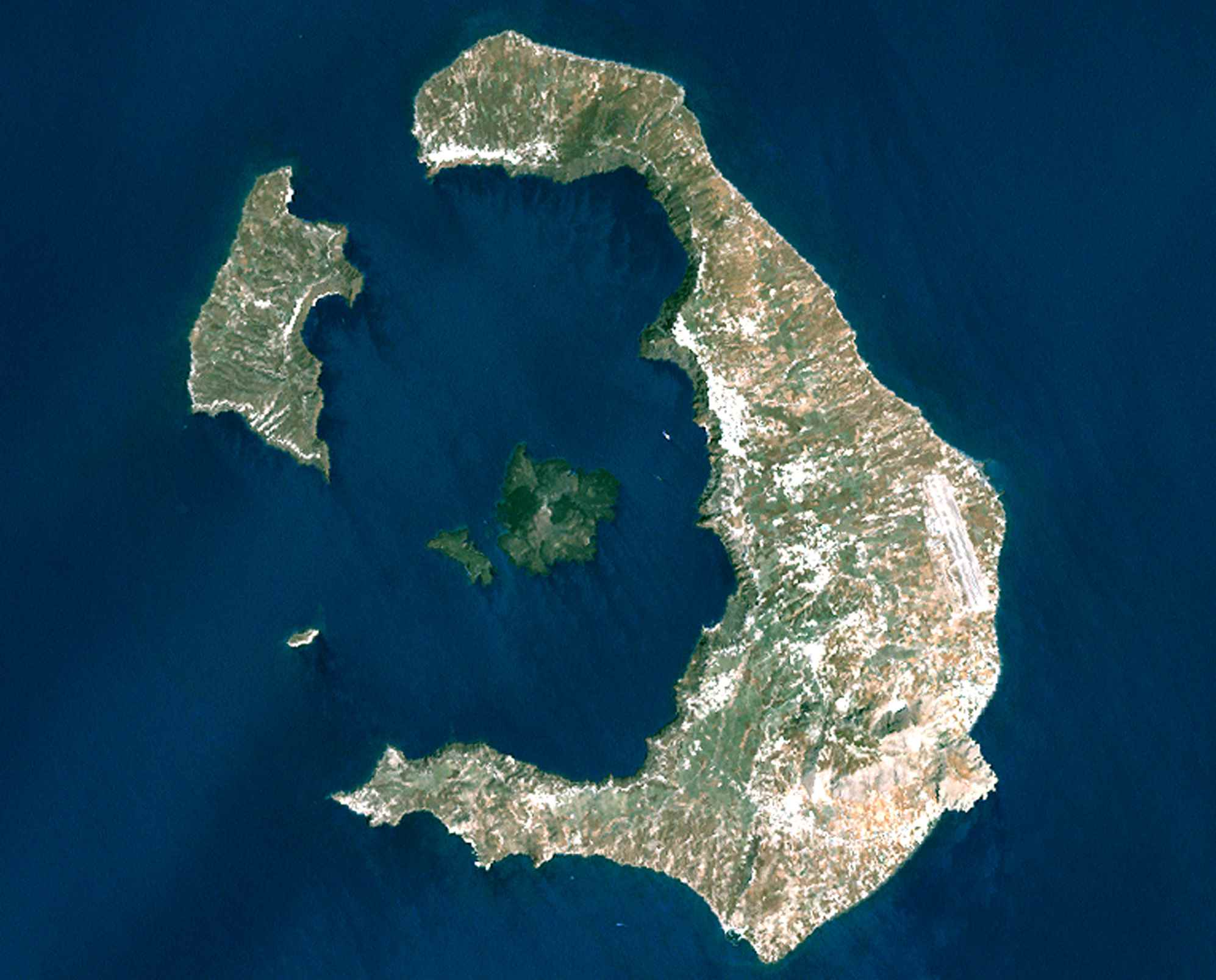 Satellite view of Santorini and Thirassia