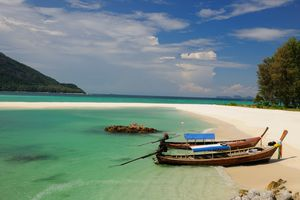 Boats on the beach and blue water at Koh Lipe, Thailand