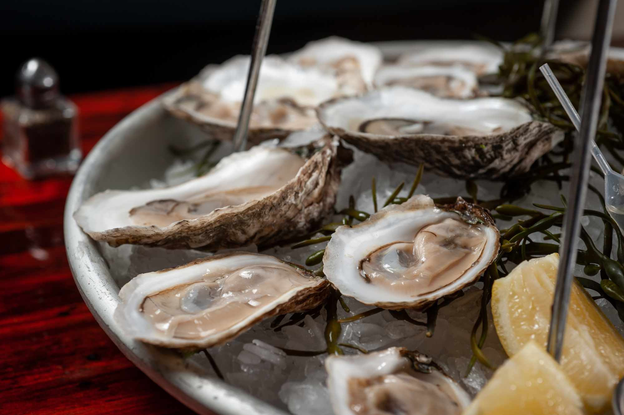 Close of raw oysters on the half shell on ice with lemon slices