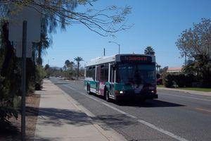 A Valley Metro NABI bus operates down 12th Street in Phoenix, Arizona.