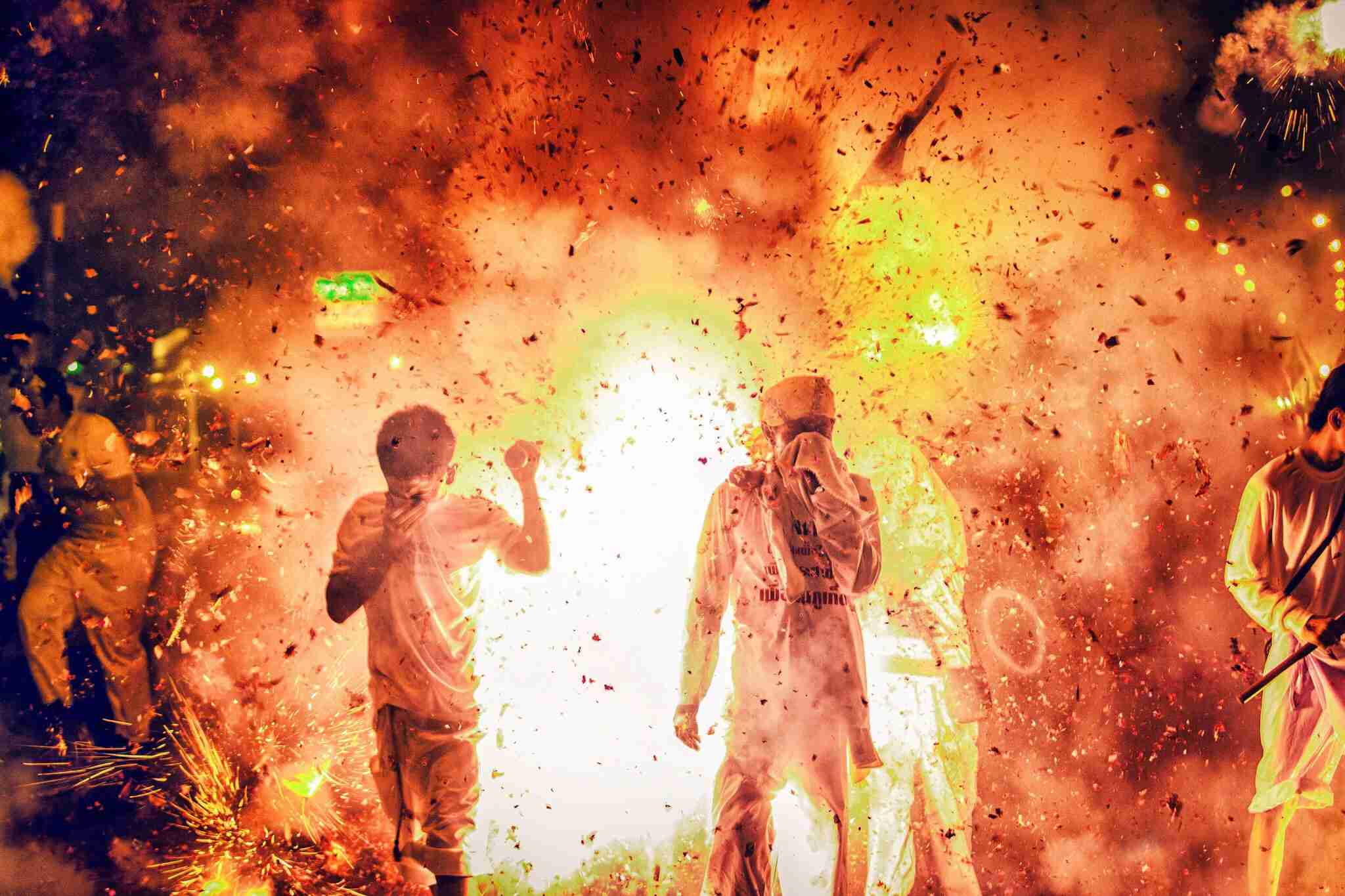 Chaotic firecrackers during the vegetarian festival in Phuket
