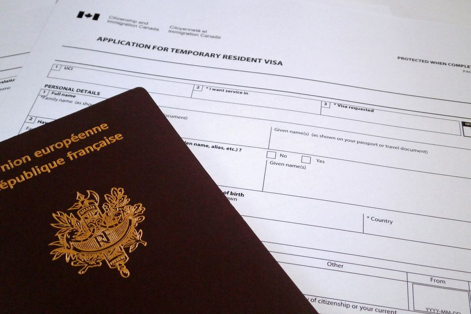 Formulario de solicitud canadiense para obtener una visa de residente temporal