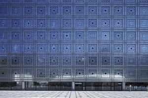 A shot showing the distinctive glass façade of the Institute/design by Jean Nouvel