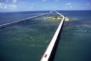 Aerial of 7 mile bridge, Pigeon Cay, FL Keys
