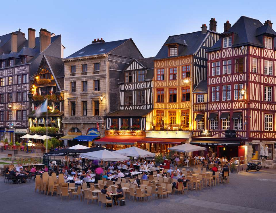 France, Normandy, Seine-Maritime, Rouen, Place du Vieux-Marche, Cafe scene at dus