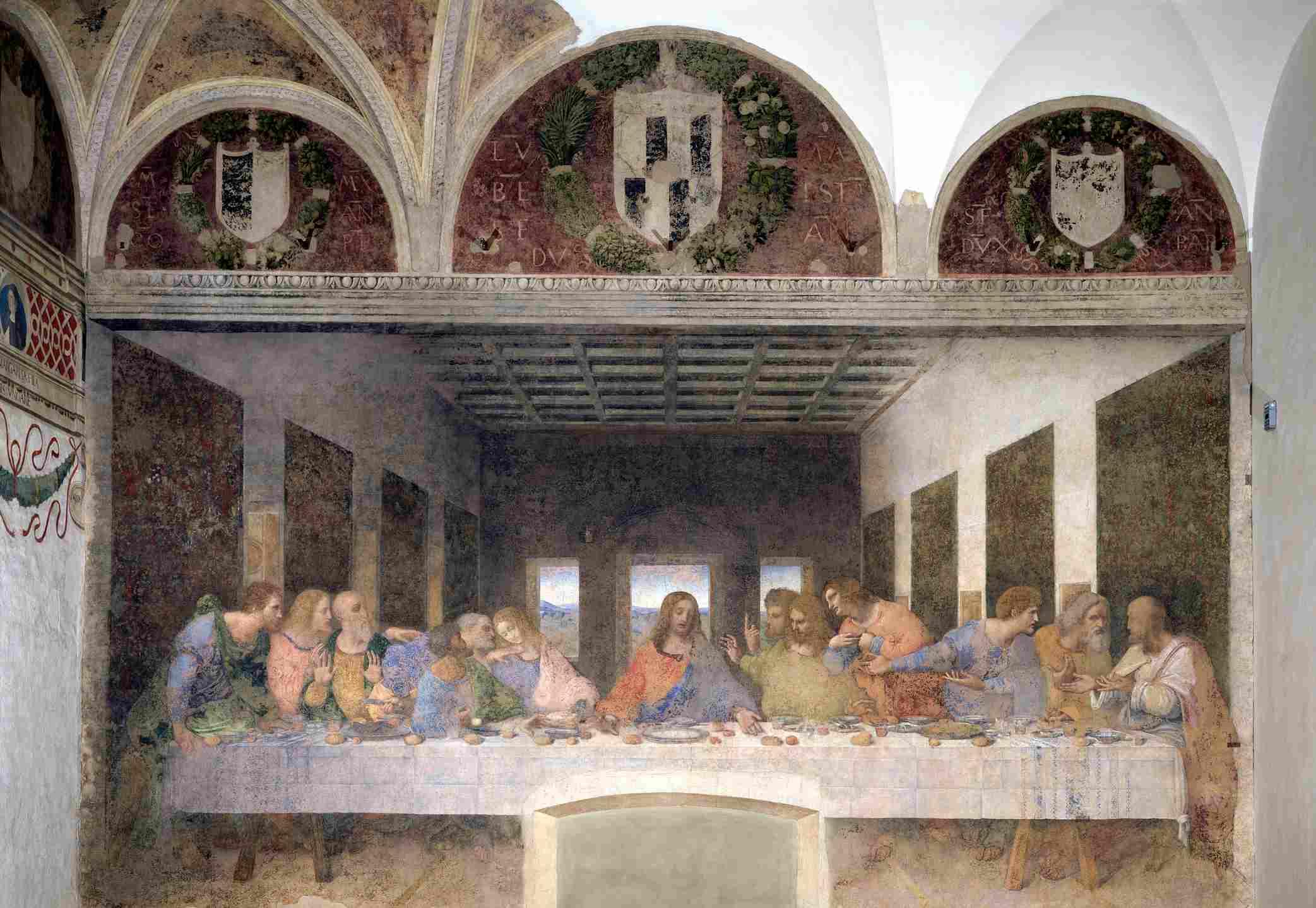 Last Supper by Leonardo da Vinci, mural painting. 1452-1519, 15th century, Italy, Milan, Santa Maria delle Grazie.
